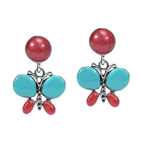 Exotic Butterfly Simulated Turquoise-Reconstructed Coral Inlay .925 Sterling Silver Earrings