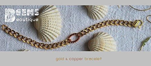GemsBeautique Large Textured Curb Chain Gold & Copper Tone 7