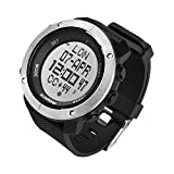SUNROAD Men's Digital Sport Watch Led Military 50M Waterproof Electronic Wrist Watch with Alarm Stopwatch Dual Time Zone Count Down EL Backlight Calendar Date for Men-Black