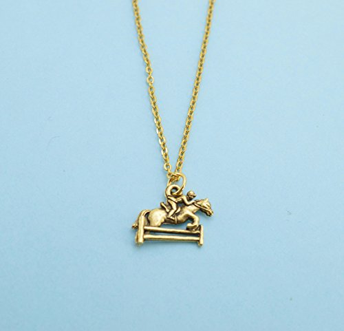 Little girls, Girls, Womans Horse jumping necklace in gold plated pewter on a 16 gold plated cable chain. Horse necklace. Horse jewelry. Horse (Pewter Horse Pendant)