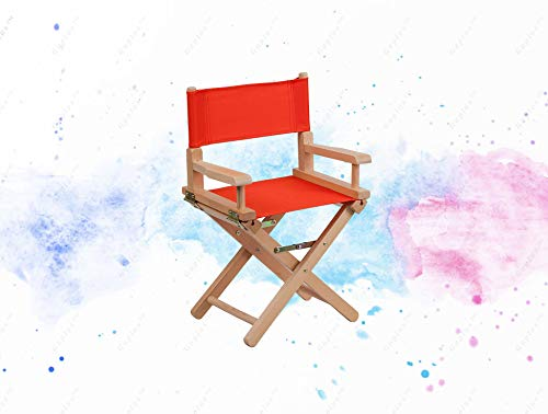 (GUPLUS-Kid Size Directors Chair in Red Child Sized Chair Foldable for Storage Lightweight, Portable Design Red Canvas Seat and Back Cover Removable Covers Arms Cross Legs Beechwood Frame Folded Size:)