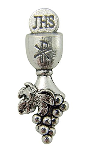 Pin Chalice Lapel - First Communion Silver Tone Chalice and Grapes Lapel Pin, 1 1/4 Inch