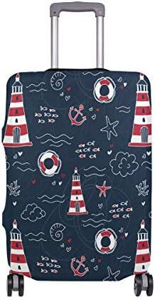 (ソレソレ)スーツケースカバー 防水 伸縮素材 キャリーカバー ラゲッジカバー アンカー 海星 ブルー 可愛い 灯塔 かわいい 可愛い おしゃれ 防塵 旅行 出張 便利 S M L XLサイズ