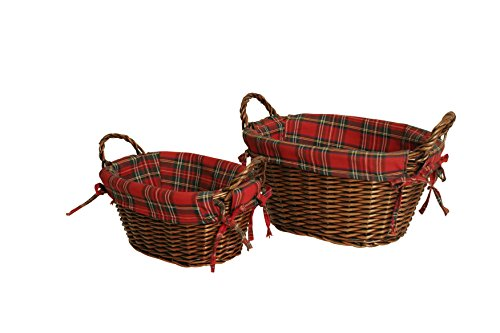 Wald Imports Brown Willow & Cloth  Decorative Storage Basket, Set of (Easter Wicker Baskets)