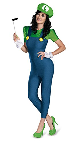 Disguise Women's Nintendo Super Mario Bros.Luigi Female Deluxe Costume, Green/Blue, Large/12-14