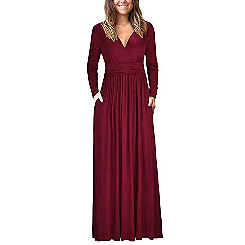 Howstar Women's Loose Swing Dress Floor Length Long Maxi Dresses with Pockets Casual Pleated Solid Color Dress (2XL, Wine) -