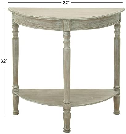 Deco 79 96329 Wood 1 2 Round Console Table, 32 x 32 , Taupe