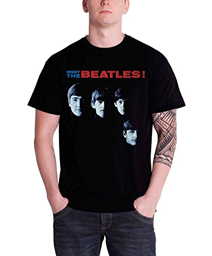 The Beatles Mens T Shirt Black Meet The Beatles Band Logo Official (Meet The Beatles Vs With The Beatles)