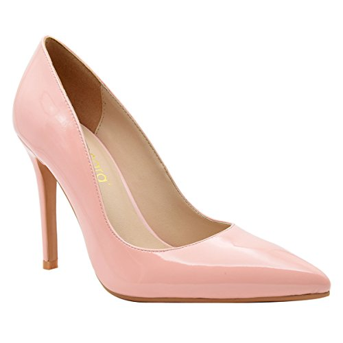 Pointed Solid High pink Verocara Shoes Toe Patent Women's Comfort Leather Pumps Heel B qwBxy6OA