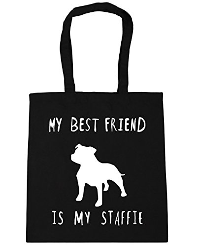 HippoWarehouse My best friend is my staffie dog Tote Shopping Gym Beach Bag 42cm x38cm, 10 litres Black