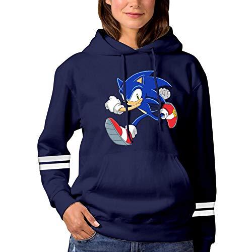 So-n-ic The Hedgehog Womens Pullover Hooded Sweatshirt Sweater Hoodie with Pocket Navy ()