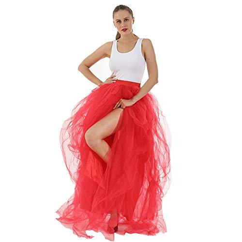 ReneeCho Women's Tulle Skirt Wedding Overlay Long Ruffle Skirts Floor Length