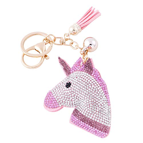 Soleebee Glitter Unicorn Keychain Premium SS6 Crystal Tassel Key Chain Leather Bag Charm for Women Girls (Pink) -