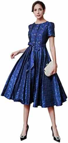 fc73f36e1e2 VOA Fall Blue Vintage High Waist Belt Silk Dresses Women Slim Pleated Dress  AJX01701