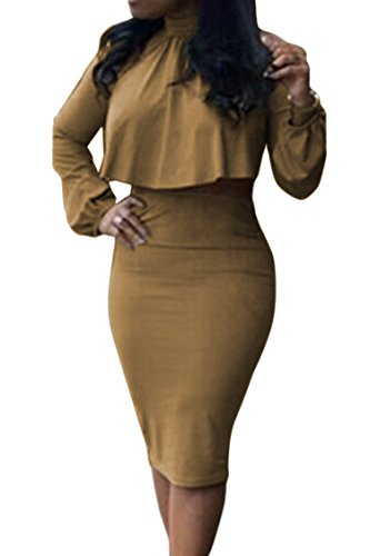 Women's High Neck Cloak Cape Top Bodycon Skirt 2 Pieces Outfit Dress S Khaki