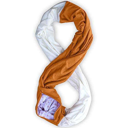 Stadium Series Scarf by WAYPOINT GOODS // Infinity Scarf w/Secret Hidden Zipper Pocket (Burnt Orange & White)