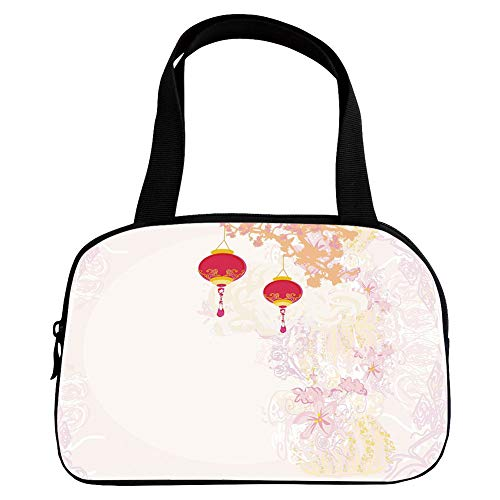 Multiple Picture Printing Small Handbag Pink,Lantern,Abstract Image Depicting Chinese New Year Old Paper Celebration Lively Colors,Pink Light Pink,for Girls,Comfortable Design.6.3