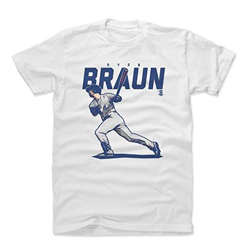 500 LEVEL Ryan Braun Cotton Shirt Large White - Milwaukee Baseball Men's Apparel - Ryan Braun Score B