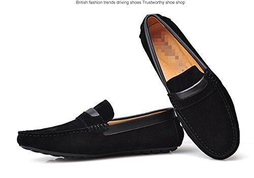 Happyshop (tm) Suède Lederen Mocassin Loafers Voor Heren Rijcomfort Slip-on Penny Loafers Koreaanse Stijl Zwart