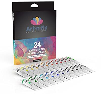 Watercolor Paint Set 24 Colors Professional Artist Grade Pigment Rich Water Color Art Painting Kit
