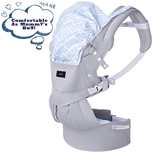Labi Premium Cotton Baby Carrier with Adjustable Bucket Seat, Ergonomic All Position Baby Backpack with Tuckaway Hood, One of The Most Comfortable Baby Carrier Wrap for Infant & Toddler, Grey