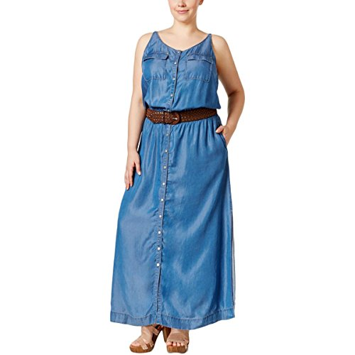 INC Womens Plus Chambray Button-Down Maxi Dress Denim 2X