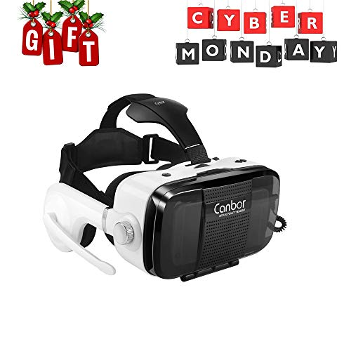 Canbor Virtual Reality Headset, VR Headset VR Goggles with Stereo Headphones VR Glasses for 3D Movies and Games Compatible with 4.7-6.2 Inches Apple iPhone, More -