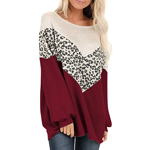 Yoyorule Tops Women Leopard Print Color Bat Sleeve Sweater Top Patchwork Print Long Sleeve Pullover Tops Shirts Blouse