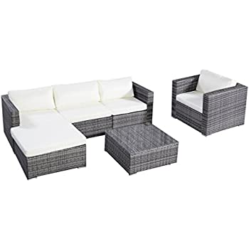 This Item Tangkula 6PC Furniture Set Aluminum Patio Sofa PE Gray Rattan  Couch 2 Set Cushion Covers