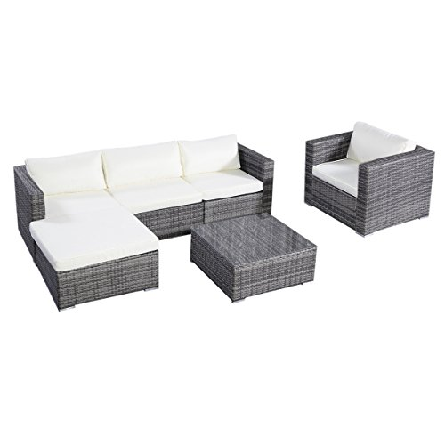 Tangkula 6PC Furniture Set Aluminum Patio Sofa PE Gray Rattan Couch 2 Set  Cushion Covers