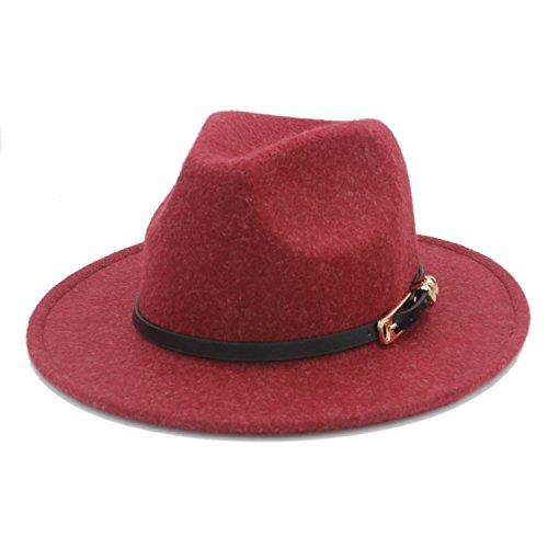 Hemp Wool Hat - Shufang-hats, store, Wool Fedora Hat,Retro Hemp Color 100% Wool Women's Men's Wide Brim Fedora Hat For Lady Cashmere Church Cap Gentleman Panama Sombrero (Color : 4, Size : 57-58cm)