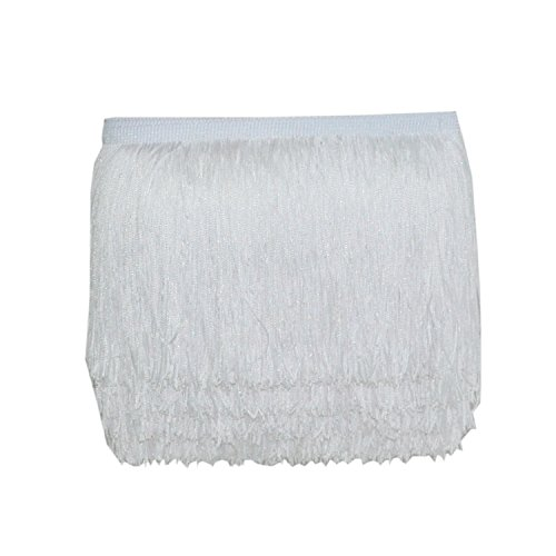 Mangocore 10Yard/Lot 15CM Long Lace Trim Color Polyester Tassel Fringe Trimming For Diy Latin Dress Stage Clothes Accessories (white (as picture ))