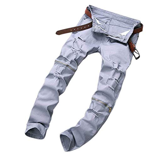 Skinny E Fit Denim Chiusura Slim Casual Jeans A Chern Grau Gamba Zip Uomo Pantaloni Da Buchi In Dritta Con Strappati Huixin vqw8S6
