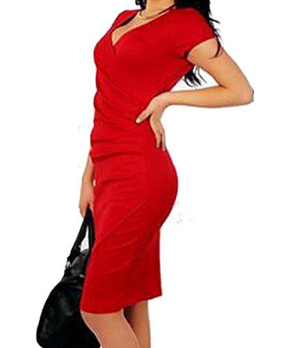Colore Bicchierino Del collo Metà Puro donne manicotto Vestito Rosso Coolred Sexy Croce V Curve wT6qXc