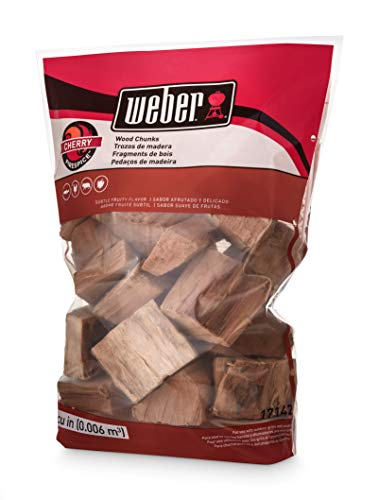 Cherry Real Wood - Weber 17142 Cherry Wood Chunks, 350 cu. in. (0.006 Cubic Meter), 4 lb