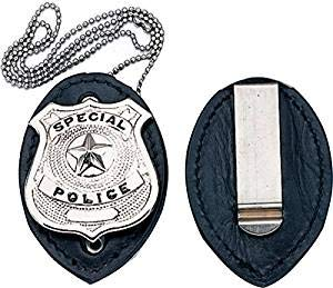 1131 Badge Holder Clip On Leather -