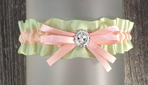 SEXY Sage Green Blush Satin Crystal Embellished Wedding Keepsake Bridal Garter