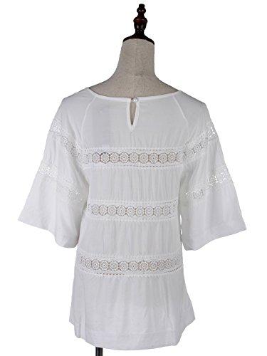 Streifen Fit Kleid Glockenärmel Spitze Vertikale knielangen M Anna Weiß Kaci S xUqnptSw0