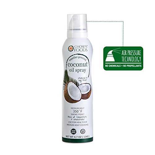 Chosen Foods Coconut Oil Spray 4.7 oz. (6 Pack), Non-GMO, Propellant-Free, Air Pressure Only for Cooking, Baking and Frying by Chosen Foods