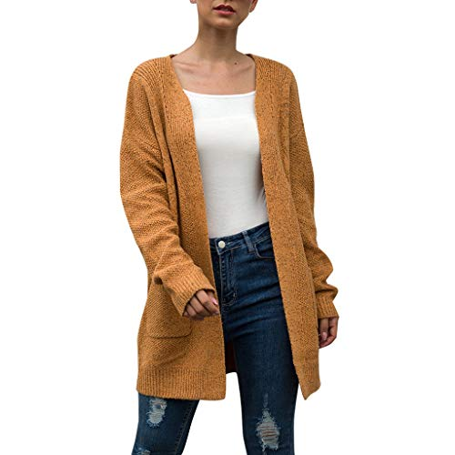 Dainzuy Women's Long Sleeve Soft Pure Color Chunky Knit Sweater Open Front Cardigan Cover Up Outwear with Pockets Yellow