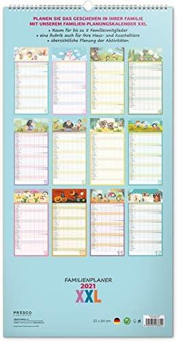 Familienplaner 2021 XXL Familienkalender 5 Spalten Kalender Planer Wandkalender für Familie Planungskalender