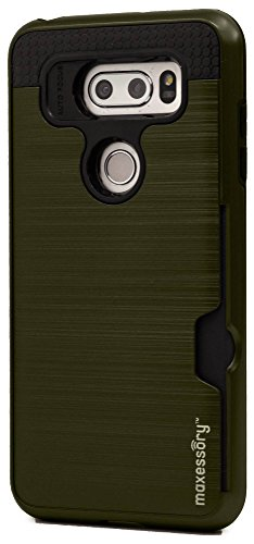 (Lg V30 Case, LG V30 Plus Case, LG V30+ Case Maxessory [Enhanced] Thin Rigid Tough Reinforced Protective Armor Cover W/Reinforced Bumper Easy-Access Card Holder Army Green Black For LG V30)