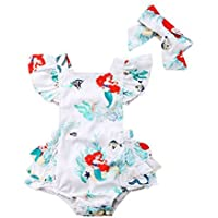 Baby Girls Rompers, Mermaid Sea World Pattern Flower Edge Bodysuit with Hairband Outfits Clothes