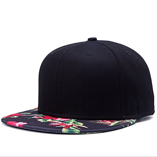 KitMax (TM) Fashion Unisex Personalized Black Floral Thermal Transfer Hip Hop Outdoor Sport Baseball Snapback Sun Caps - Snapback Floral Hat
