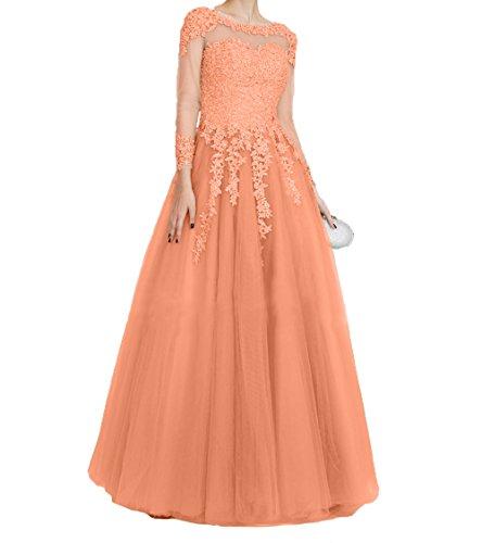 Tuell Lang Langarm Promkleider Abschlussballkleider Orange Damen Festlichkleider Spitze Charmant Abendkleider fvpTwnq