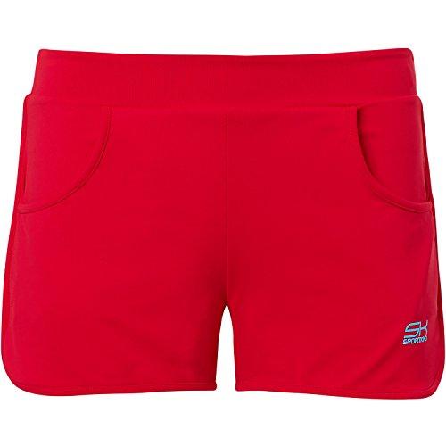 Sportkind Mädchen und Damen 2-in-1 Tennis / Volleyball / Sport Shorts mit Innenhose in rot Gr. 164