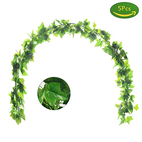 JUSTOYOU 5Pcs 44Ft Ivy Garland Artificial Plants Vines Hanging Greenery Fake Leaves Flower for Wedding Outside Party Home Decor -