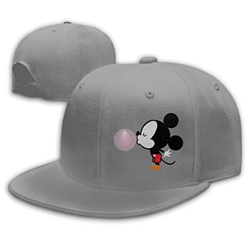 Buecoutes Balloon Mickey Mouse Flat Visor Baseball Cap, Designed Snapback Hat Gray