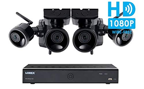 Lorex Wire Free Camera System, 6 Channel DVR, 4 Rechargeable Wire Free Cameras, 95' Night Vision, 2-Way Audio Speaker-Mic