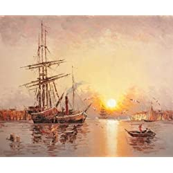 Perfect Effect Canvas ,the Beautiful Art Decorative Prints On Canvas Of Oil Painting 'Wall Sunset Seascape With Sailing Ships And Sea Gulls', 10x12 Inch / 25x31 Cm Is Best For Bedroom Decoration And Home Artwork And Gifts